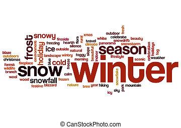 woord, winter, wolk