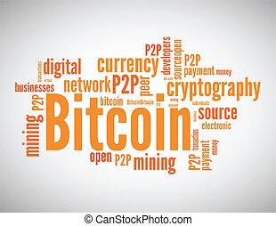woord, wolk, concept, bitcoin, verwant