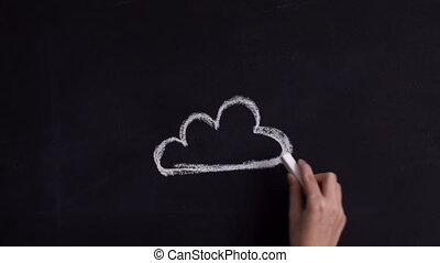 woord, wolk, en, illustratie, op, een, chalkboard