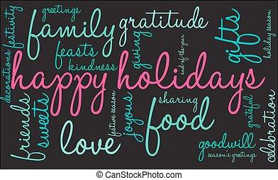 woord, wolk, feestdagen, vrolijke
