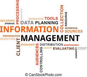 woord, wolk, -, informatie bestuur