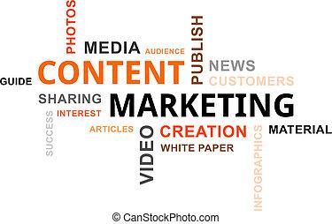 woord, wolk, -, inhoud, marketing
