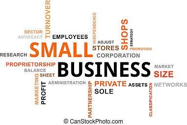 woord, wolk, -, kleine onderneming