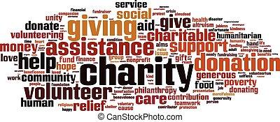 woord, wolk, liefdadigheid