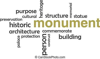 woord, -, wolk, monument