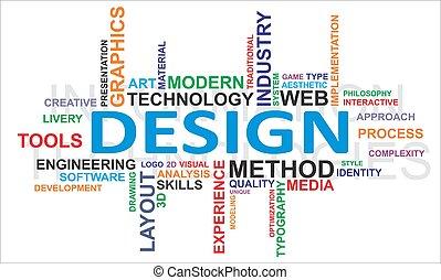 woord, wolk, -, ontwerp