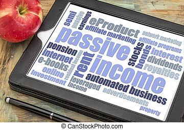woord, wolk, passief, inkomen, tablet