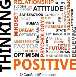 woord, wolk, -, positief denken