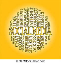 woord, wolk, sociaal, media