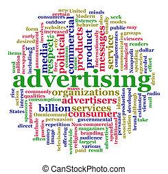 woord, wolk, van, reclame