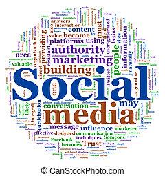 woord, wolk, van, sociaal, media