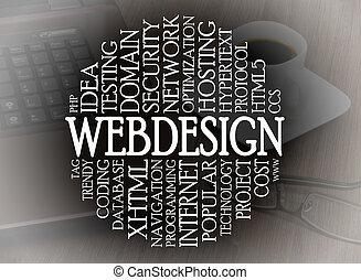woord, wolk, webdesign, concept