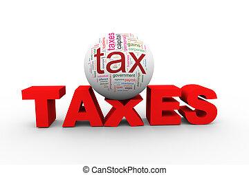 woord, wordcloud, belasting, 3d