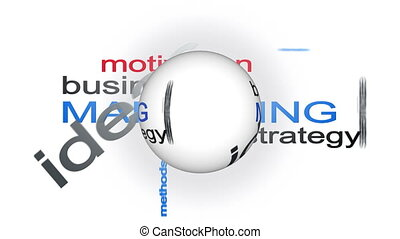 woord, zakelijk, marketing, strategie, bol, animatie, tekst,...