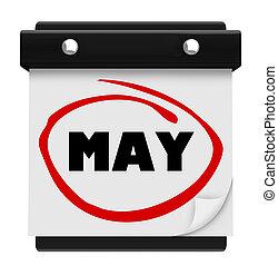 woord, zich herinneren, schema, mei, maand, muur kalender