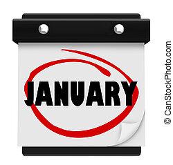 woord, zich herinneren, schema, muur, januari, maand, kalender