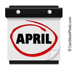 woord, zich herinneren, schema, muur, maand, april, kalender