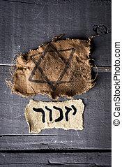 woord, zich herinneren, yizkor, joodse , hebreeuws, badge