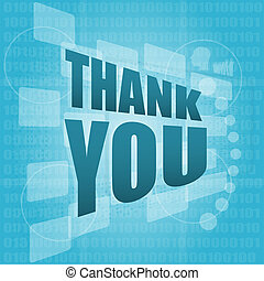 woorden, bedankt, op, digitale , scherm, vakantie, concept