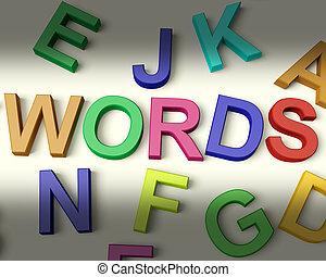 woorden, geschreven, in, veelkleurig, plastic, geitjes,...