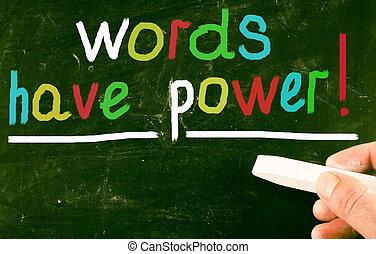woorden, hebben, power!