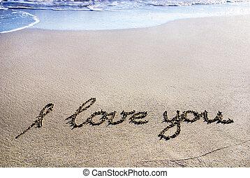 """woorden, """"i, liefde, you"""", schets, op, de, nat zand, met, de..."""