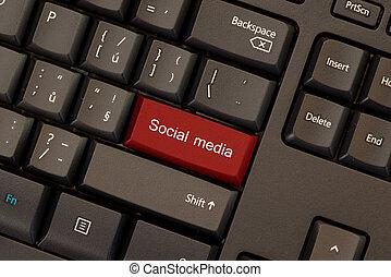 woorden, media, knoop, sociaal, black , klee, toetsenbord, rood
