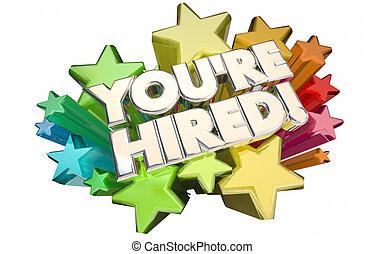 woorden, sollicitatiegesprek, aanvrager, kandidaat, succes, sterretjes, youre, huren, 3d