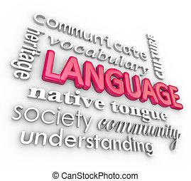 woorden, taal, collage, communicatie, begrip, leren, 3d