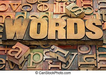 woorden, tekst, in, hout, type