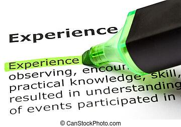 woordenboek, definitie, van, de, woord, ervaring