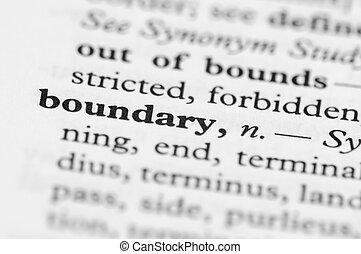 woordenboek, reeks, -, grens