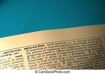 woordenboek, woord, opleiding
