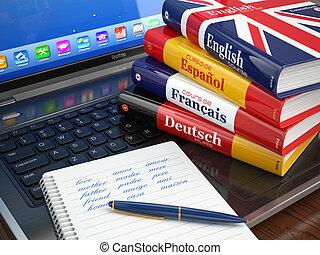 woordenboeken, laptop., talen, e-learning., leren, online.