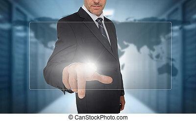 wor, futuriste, toucher, homme affaires