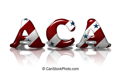 American Affordable Care Act - Word ACA in 3D American flag...