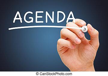Word Agenda Handwritten With White Marker