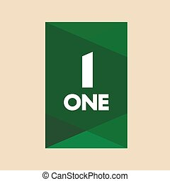 Word and number one vector. First template icon. One symbol silhouette