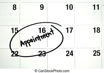 Word Appointment Circled on Calendar - the word appointment ...