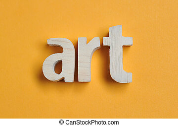 Word ART carved from wood. Art text on yellow backdrop for your desing