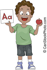 Word Association - Illustration of a Kid Holding an Apple...