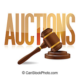 word auction and wooden gavel illustration design