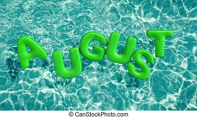 """word """"AUGUST"""" shaped inflatable swim ring floating in a..."""