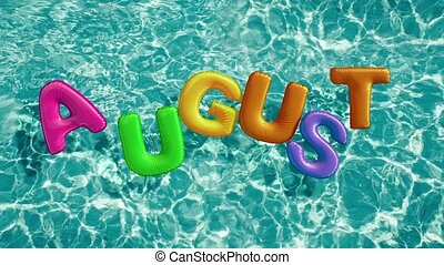 "word ""AUGUST"" shaped inflatable swim ring floating in a..."