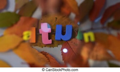 Word autumn through magnifying glass. Colorful letter on...