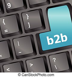 word b2b on digital keyboard vector illustration