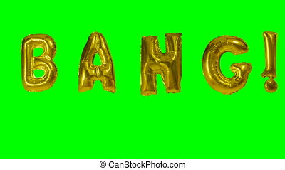 Word bang from helium gold balloon letters floating on green...