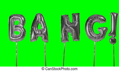 Word bang from helium silver balloon letters floating on...