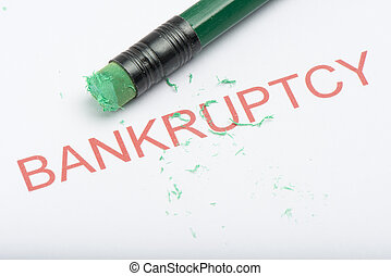 Word 'Bankruptcy' with Worn Pencil Eraser and Shavings