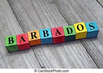 word Barbados on colorful wooden cubes